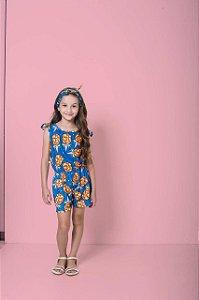 Macaquinho Infantil Feminino Mylu Estampa Abacaxi Com Lenço Para Cabelo