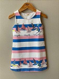 Vestido Infantil Feminino Linha Listrado Com Barcos