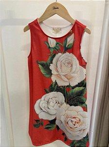 Vestido Linha a Est. Rosas Fundo Vermelho