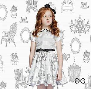 Vestido Infantil Feminino de Chiffon Stripe Com Saia Estampa Castelo e Gola Bord.