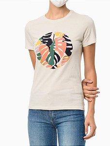 Camiseta Estampa Localizada Poa Tropical Areia