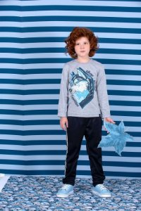 Camiseta Infantil Masculina Malha Mescla Silk Husky
