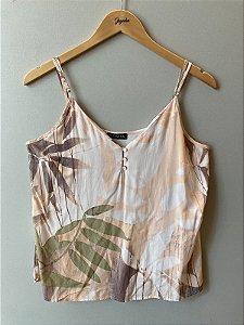 Blusa de Alcinha Nude Folhas