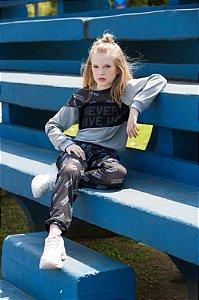 Conjunto Blusão em M/m e Tule Sublimado Shorts em Cotton e Calca em Tule Sublimado / Preto/preto/rosa Neon