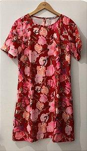 Vestido Adulto Vermelho Floral