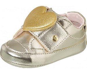 Tênis Infantil Feminino Baby Style Coração Ouro - Xuá Xuá