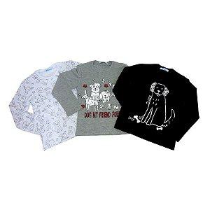 Camisetas Manga Longa Algodão Gola Careca Com Estampa de Cachorros