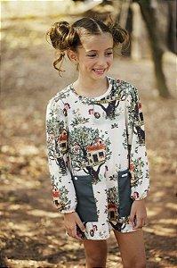 Vestido Infantil Estampa Casa na Arvore Com Bolso Chapado