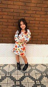 Vestido ml Com Capuz Estampa Floral Com Borboleta Mylu