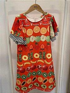 Vestido Infantil Feminino Linha Estampa Frutas
