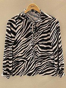 Blusa Est Zebra ml C/lastex e Gola de Babado C/laco