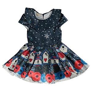 Vestido Infantil Feminino Rodado Em Tecido Estampa de Casa de Passarinhos com Babado e Laço