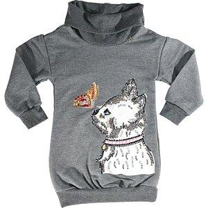 Vestido Infantil Blusão Gola Alta em Moletom Com Aplicação de Pet.