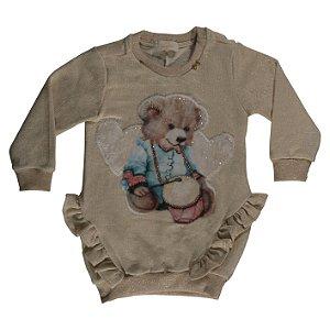 Vestido Infantil Bomber em Moletom com Foil Aplicação em Pelo de Urso