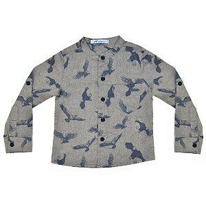 Camisa Infantil Masculina Gola Padre Tecido Mescla Estampa Águia