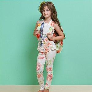 Conjunto Infantil Feminino Regata Silk Beija Flor com Legue Estampada de Rosas Laranjas