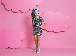 Pijama Infantil Feminino Blusa e Short Pijaminha Estampado com Tapa/olho