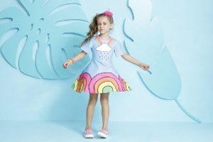 Vestido Infantil Feminino Estampa Arco Iris