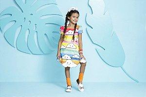 Vestido Infantil Feminino Estampa Nuvens E Arco-Iris