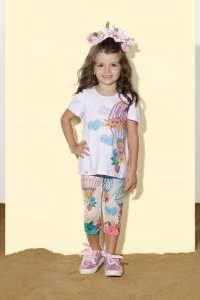 Conjunto Infantil Feminino Blusa Silk Balao com Legging Estampada