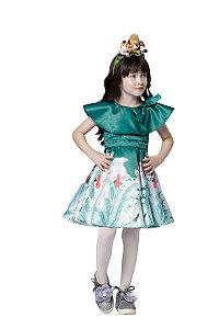 Vestido Infantil Feminino Rodado Estampa Safari