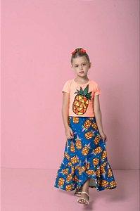 Conjunto Infantil Feminino Blusa com Saia Estampa Abacaxi