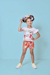 Conjunto Infantil Feminino Blusa com Silk e Short Estampa Sorvete