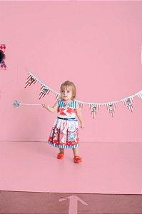 Vestido Infantil Feminino Rodado Estampa Circo e Animais
