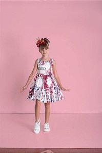 Vestido Infantil Feminino Estampa Cachorros com Laços Nas Costas