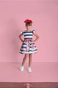 Vestido Infantil Feminino Rodado Estampa Guloseimas