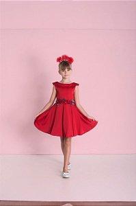 Vestido Infantil Feminino de Satin com Decote Nas Costas
