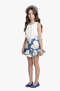Conjunto Infantil Feminino Camiseta com Babado e Saia Estampada Floral