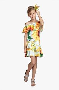 Vestido Infantil Feminino Estampa Girassol com Babados