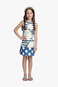 Vestido Infantil Feminino Linha com Barrado Poa