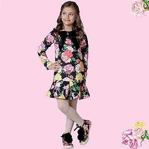 Vestido Infantil Feminino Estampa Babado Na Barra Floral