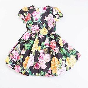 Vestido Rodado MC de Estampa Rosas Coloridas
