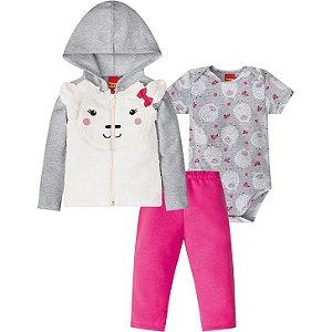 Conjunto Bebê Feminino Body + Casaco + Calça Kyly