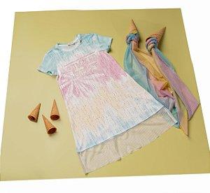 Vestido Infantil Estampa Summer Vibes com Barrado de Tule