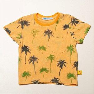 T-shirt Estampa Coqueiros com Bolso