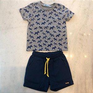 Conjunto T-shirt com Micro Estampa Cachorrinho Com Short