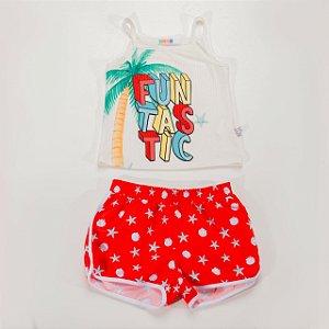 Conjunto Infantil Feminino Regata com Shorts Estamapa Conchas e Estrelas