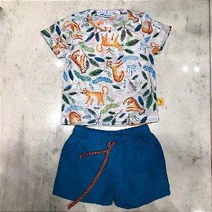 Conjunto Infantil Masculino T-Shirt Estampa de Onca com Shorts de tac-tel