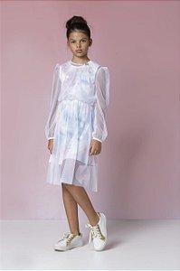 Vestido Estampa Tye Dye Com Sobreposição de Tule Espampado