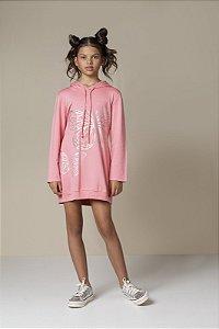 Vestido Bomber Com Capuz Rosa