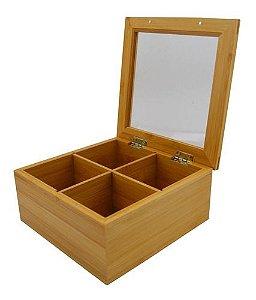 Caixa De Chá Organizadora Bambu 4 Divisórias Madeira Estojo