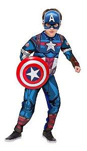 Fantasia Capitão America Longa Infantil Luxo Escudo Menino