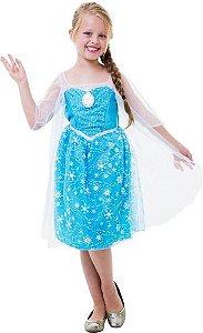 Fantasia Vestido Princesa Elsa Musical Frozen Som E Luz+capa