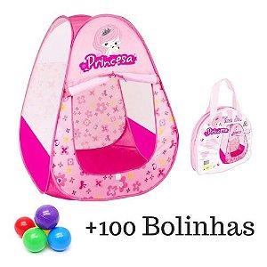 Toca Barraca Princesa Infantil Menina C/100 Bolinha Colorida