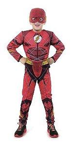 Fantasia Flash Infantil Luxo Longa C/ Músculo Liga Justiça