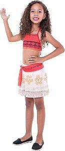 Fantasia Moana Regata Princesa Disney Top + Saia Infantil